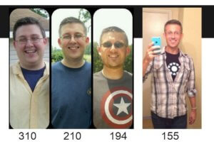 BJ at different weights from 310 pounds to 155