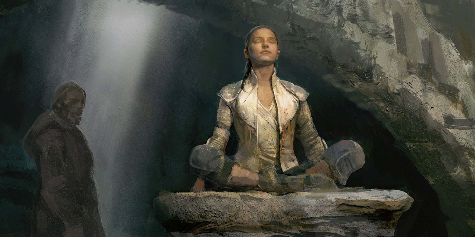 Rey learning Jedi Meditation with Luke Skywalker Concept Art
